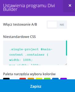 ustawienia strony projektu