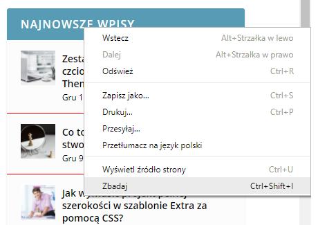 obramowanie widgetu zbadaj stronę